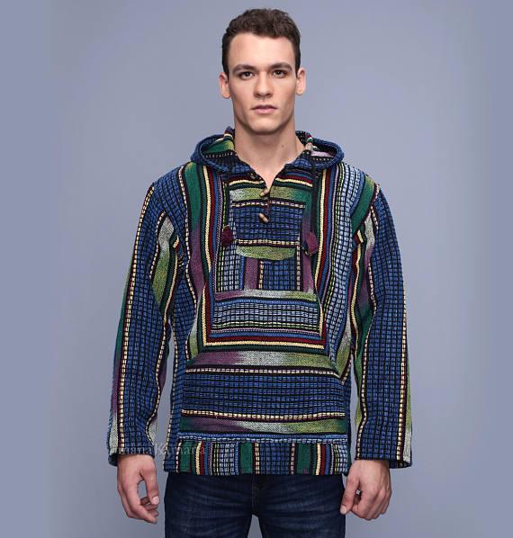 825e25c09 ON SALE mens poncho hoodie - Baja men's hoodie - S size - Mexican style  hoodie