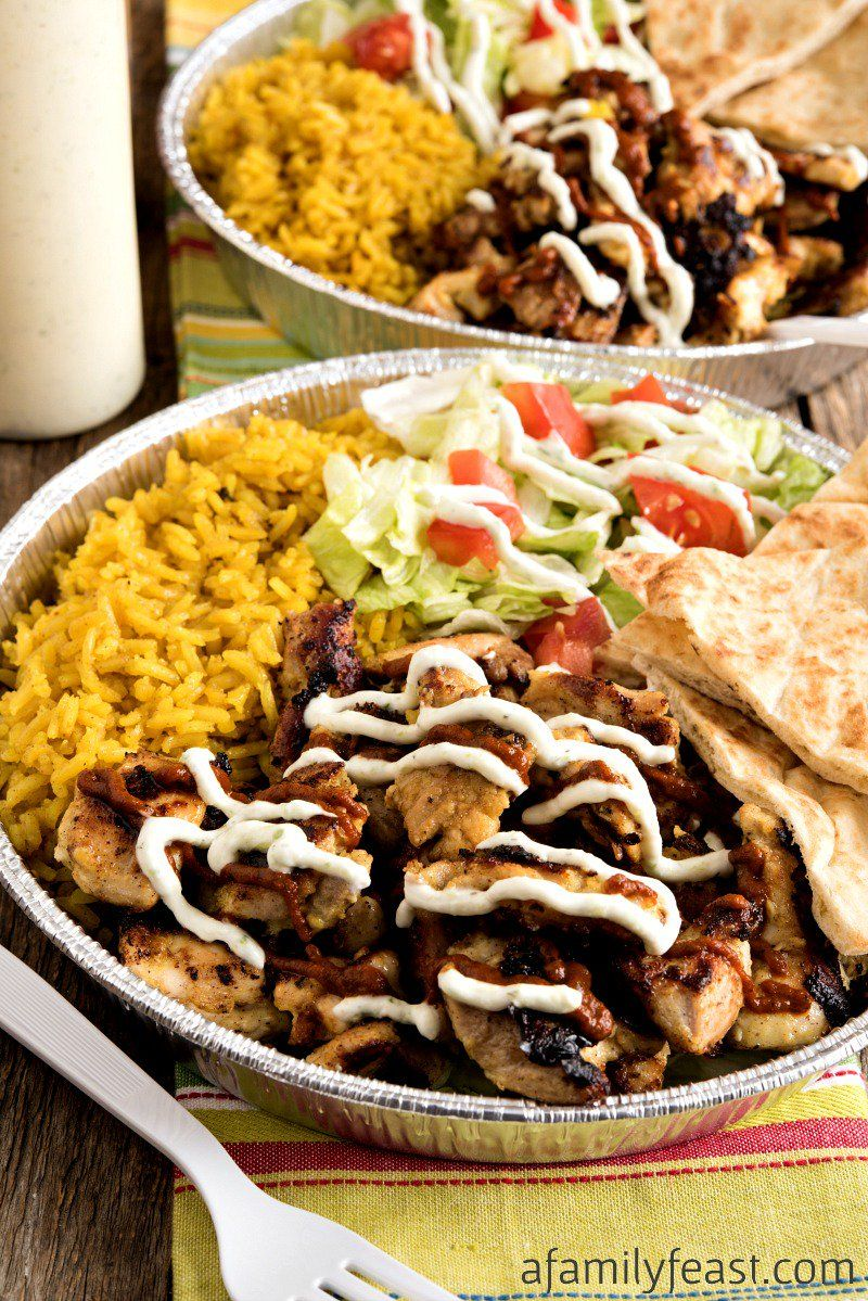 This Halal Cart Style Chicken And Rice With White Yogurt Sauce Was Created In Partnership With The Dairy Farm Fa Halal Recipes White Sauce Recipes Lamb Recipes