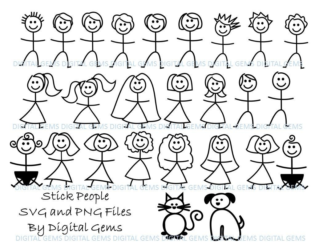 Stick People Svg Dxf Eps Png Files Digital Download Etsy Stick Man Cricut Stick Figures