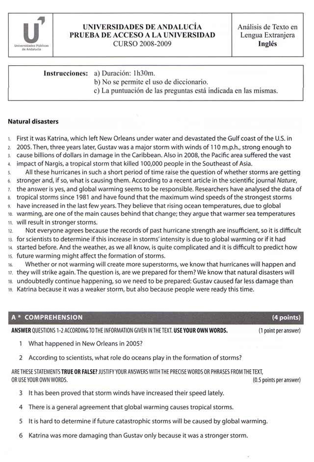 Modelo De Examen De Inglés En Selectividad Selectividad Ingles Selectividad Ingles