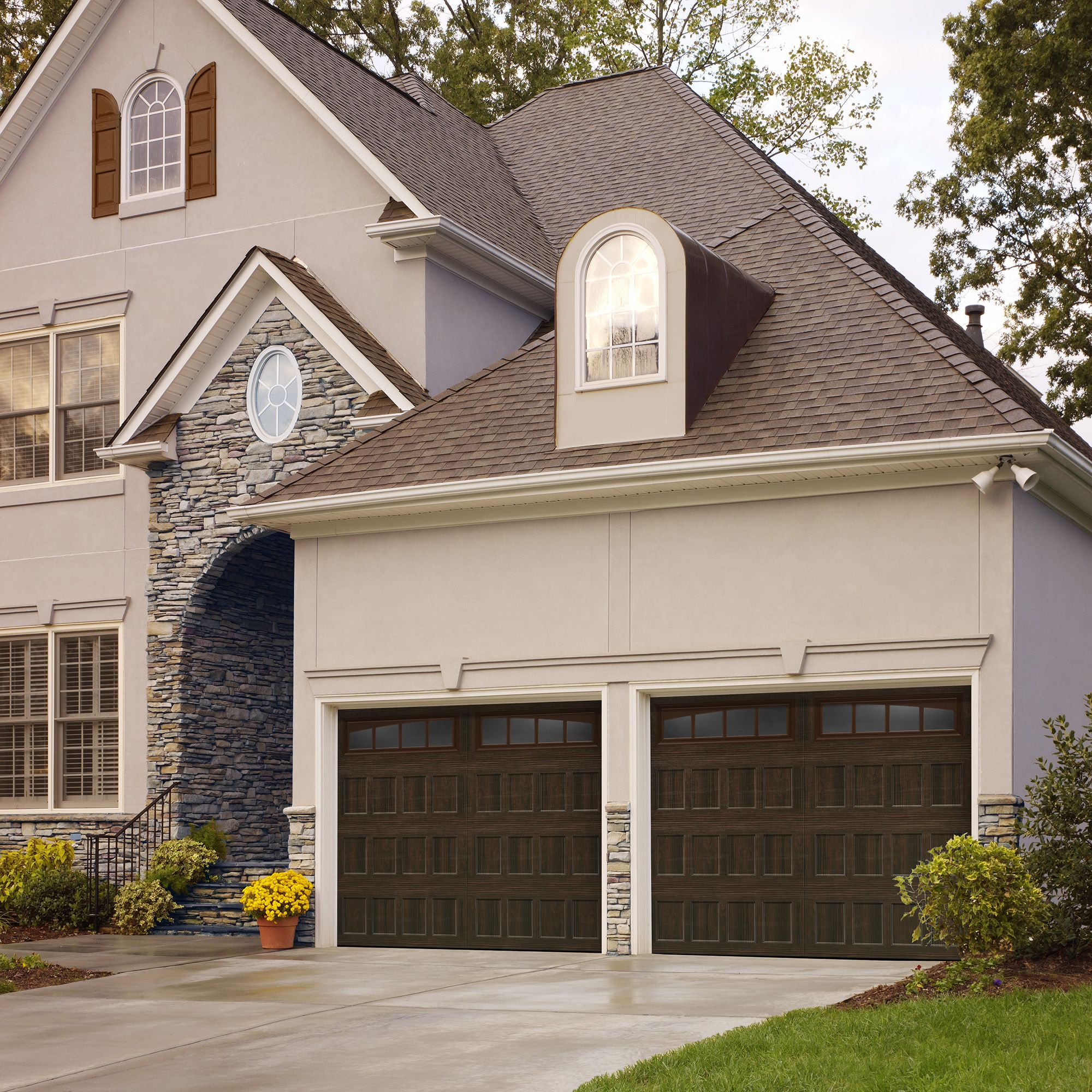 Amarr Oak Summit Collection Recessed Panel Design With Arched Thames  Windows In Walnut Dual Directional · Garage Door ...