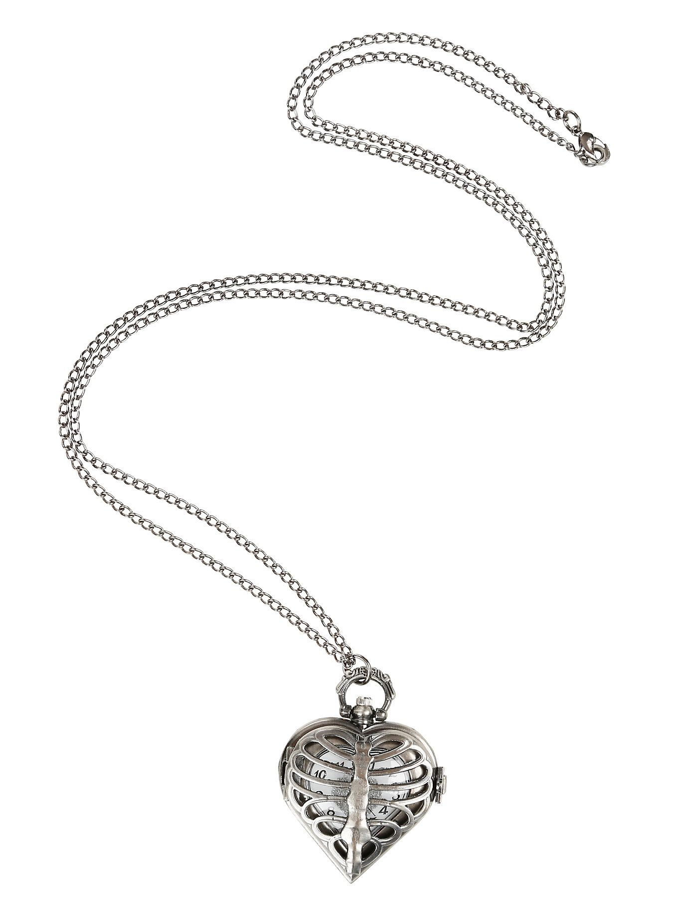 Burnished Silver Tone Heart Rib Cage Pocket Watch Necklace | Hot Topic
