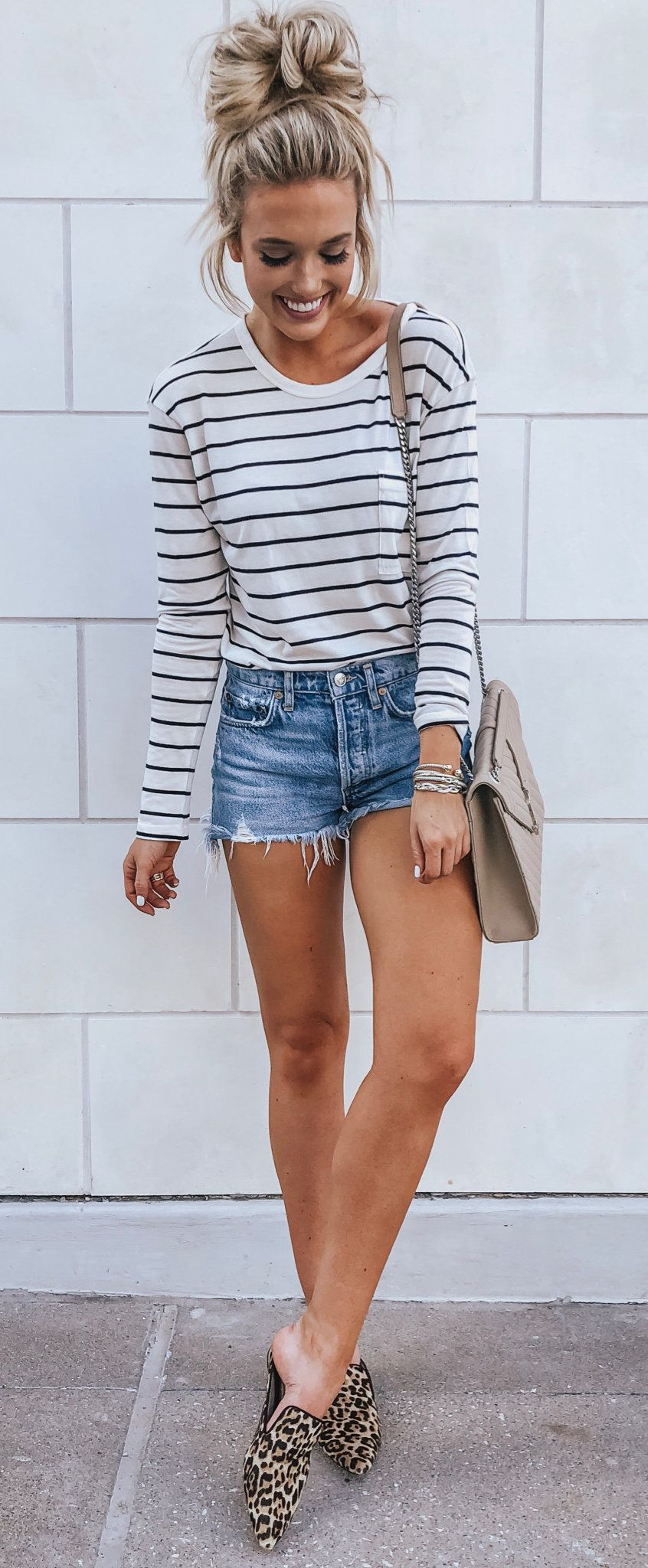 summer #outfits white and black striped long-sleeved shirt and