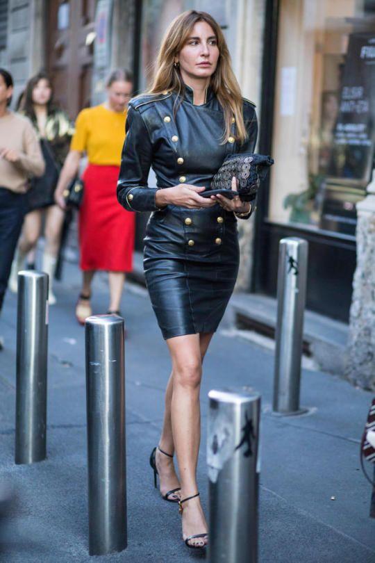 Afbeeldingsresultaat voor leather dress street style