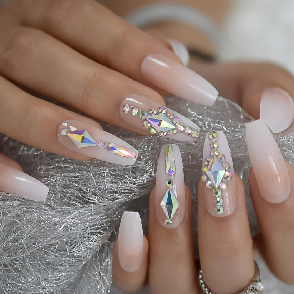 Luxury Custom Large Rhinestones Ombre Coffin Press On Nails In 2020 Nails Design With Rhinestones Stone Nail Art Nail Art Hacks