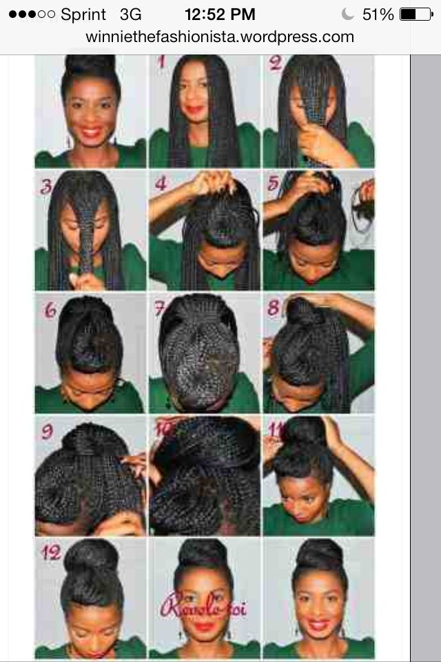 An Easy Hairstyle To Accomplish For Box Braids Or Singlise Twist