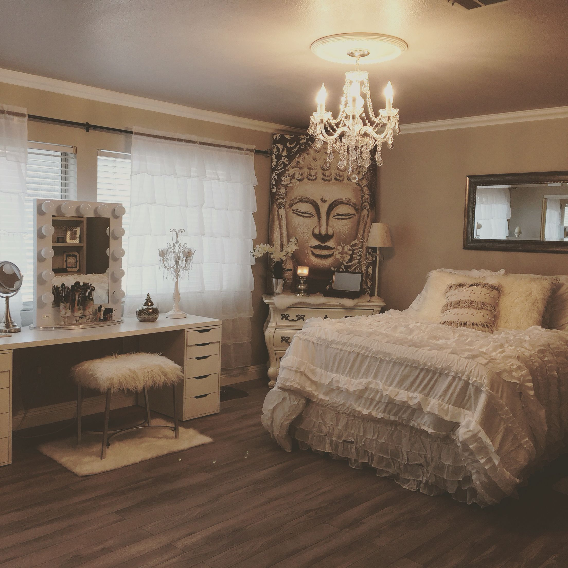 Shabby chic meets zen glam my new bedroom pinterest for Bedroom decoration designs