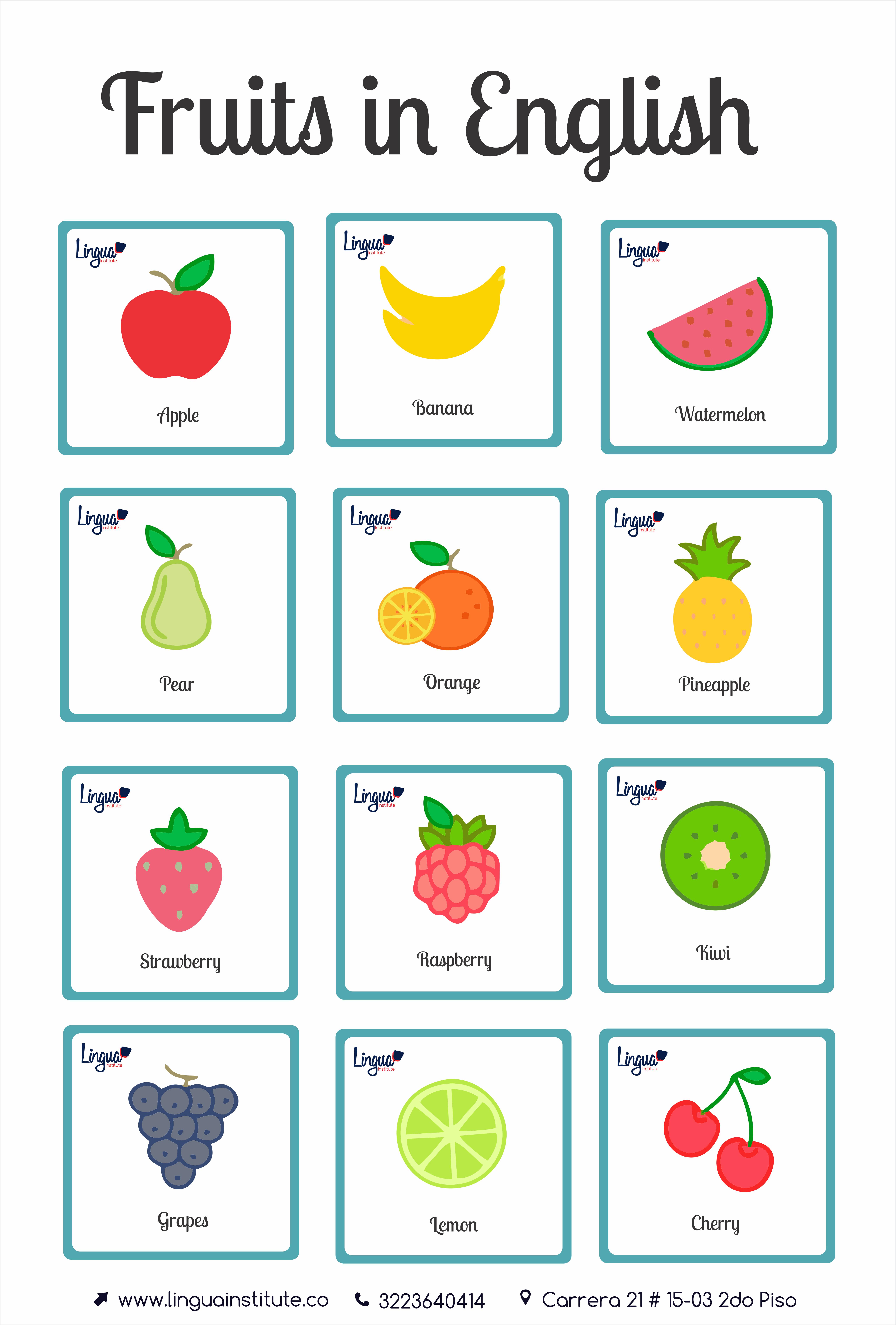 Frutas En Ingles Fruits In English Lingua Institute