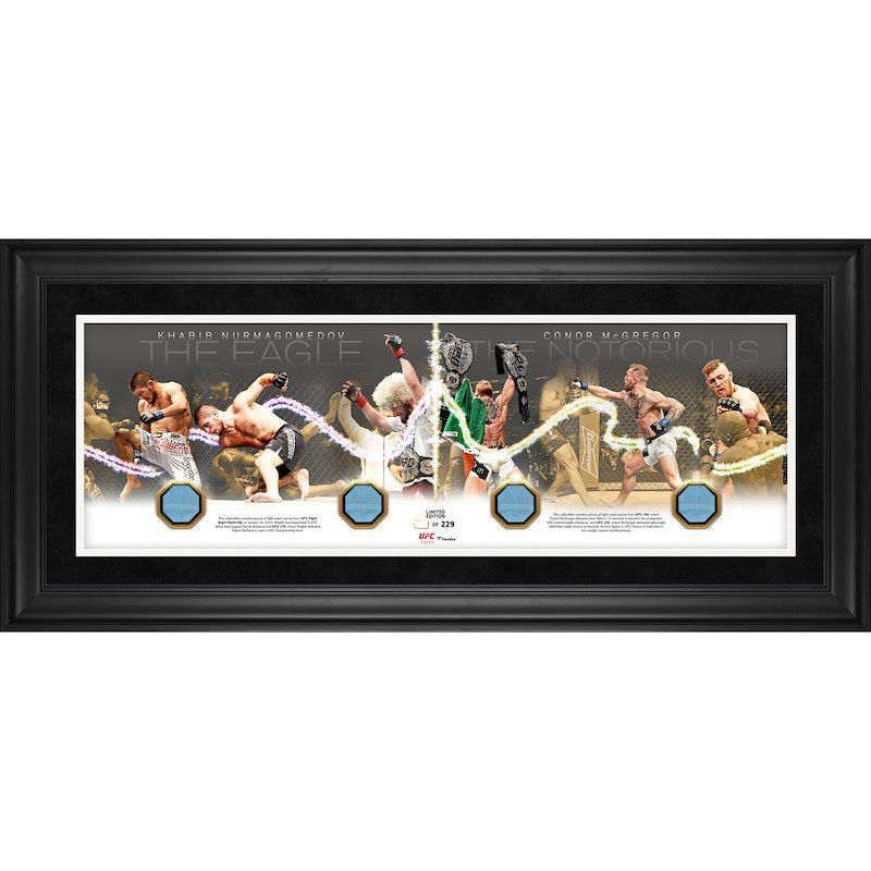 Fanatics Authentic Ufc 229 Conor Mcgregor Vs Khabib Nurmagomedov Framed 10 X 30 Road To The Octagon Panoramic With Four Pieces Of M Ufc Frame Conor Mcgregor