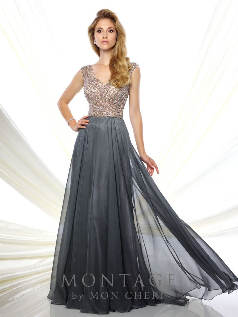 Montage by Mon Cheri - 116940 - Chiffon A-line gown with hand-beaded cap sleeves, illusion bateau neckline over beaded sweetheart bodice, V-back, flyaway skirt with sweep train. Matching shawl included.Sizes: 4 - 20Colors: Gray, Navy Blue, Champagne