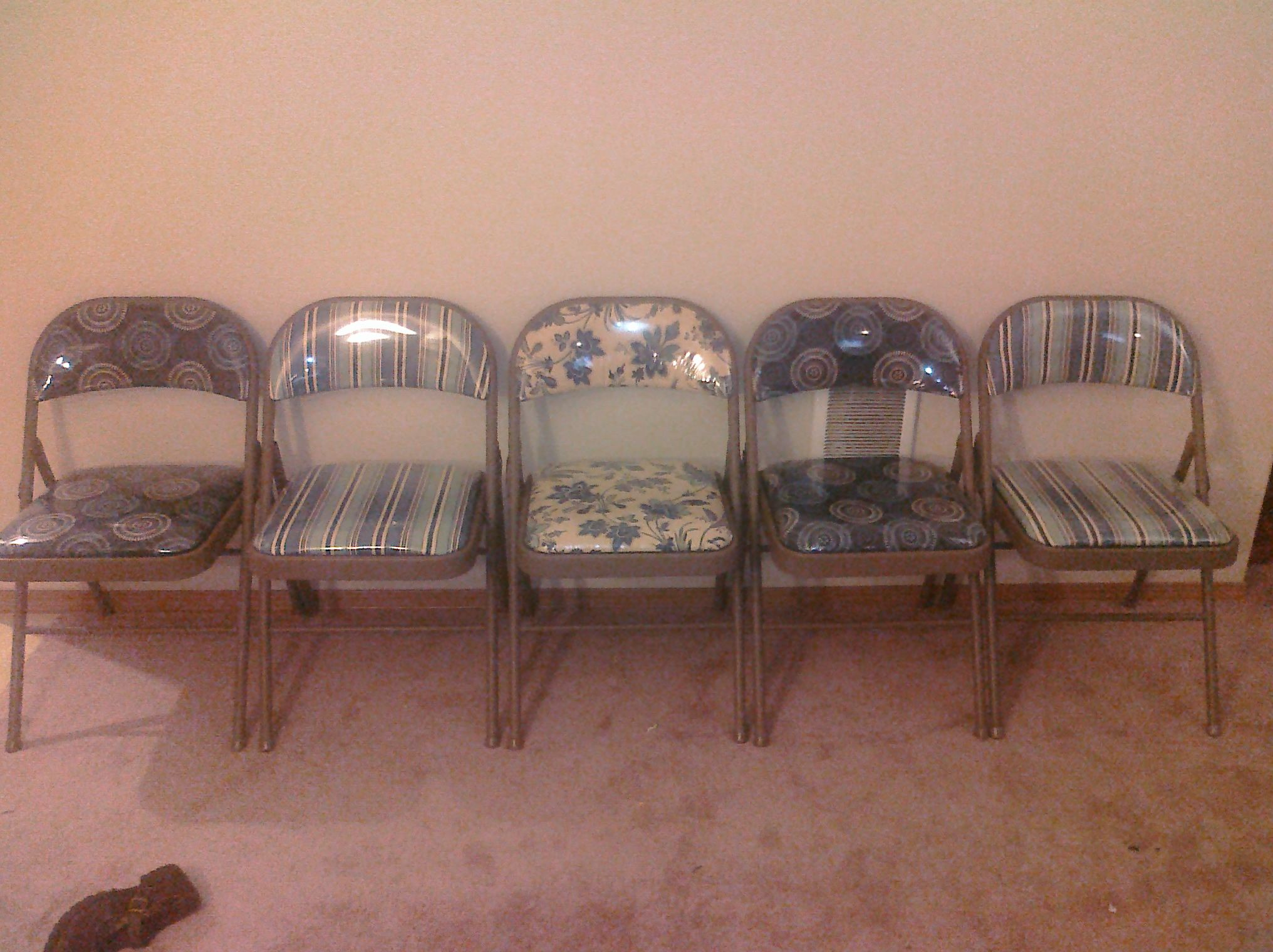 Recovered My Costco folding chairs in decorative fabric and plastic Recovered My Costco folding chairs in decorative fabric and  . Decorative Folding Chairs. Home Design Ideas