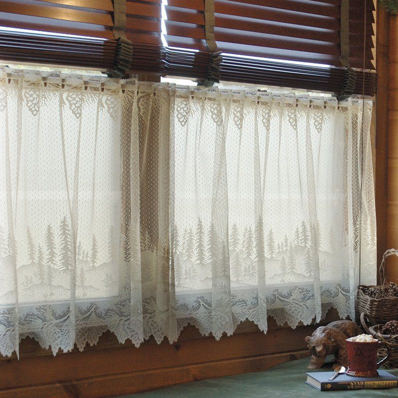 Heritage Lace Pinecone Tier From Hayneedle Com Lace Curtains With Wooden Blinds Hmmm Greyblinds Blindsfas Living Room Blinds Blinds Design Lace Curtains