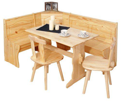Links 30500140 Eckbank Eckbankgruppe Bank Esstisch 2 Stühle Kiefer - küche kiefer massiv