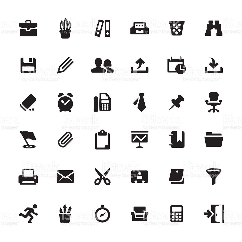 Office Supply And Paperwork Related Symbols And Icons