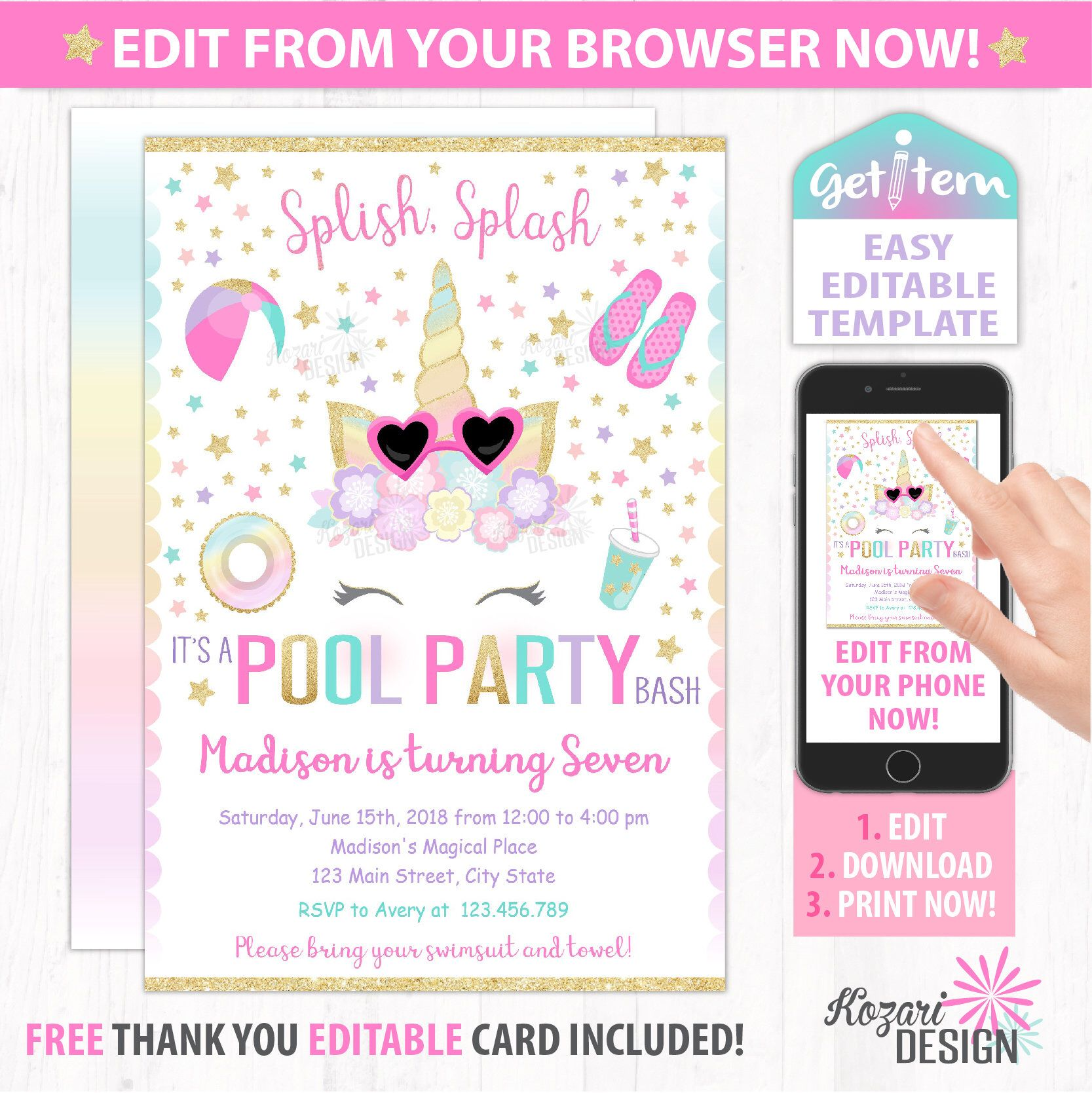 Unicorn pool party invitation magical birthday invitation unicorn unicorn pool party invitation magical birthday invitation unicorn editable invitation edit with your phone id uppi147 stopboris Choice Image