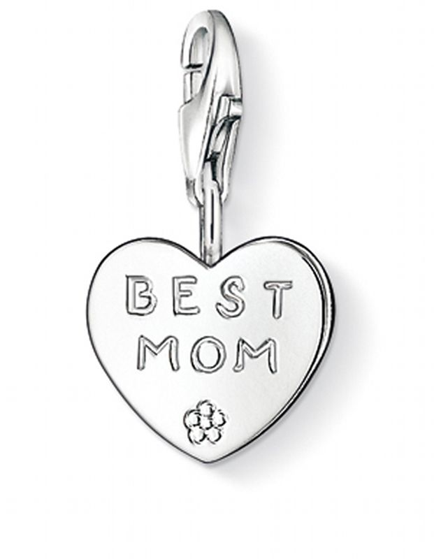 Thomas Sabo Women-Charm Pendant BEST MOM Charm Club 925 Sterling Silver 0821-001-12 TpbyF