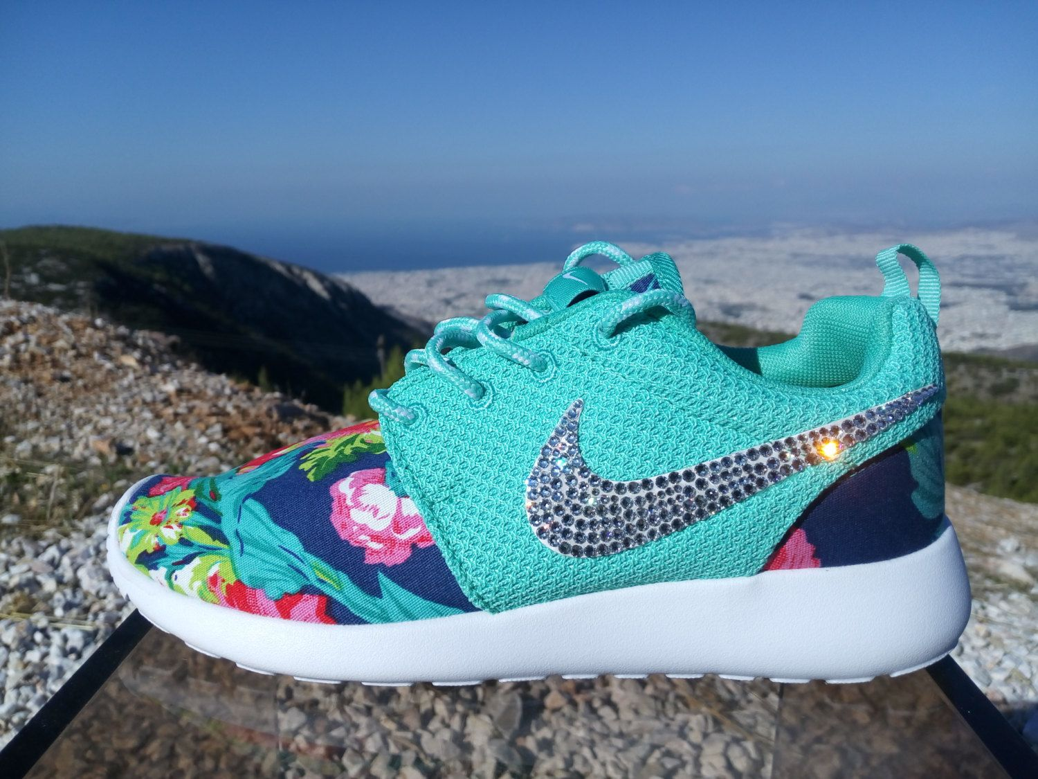 nike roshe run women athletic sneakers aqua color sport shoes custom with  fabric floral and blinged