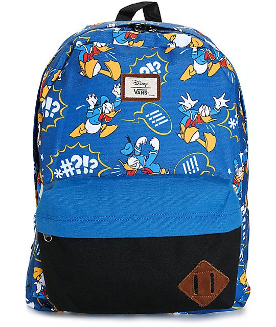 Get a fun new style with an iconic all over Donald Duck print and a  contrasting black zipper pouch pocket at the front. 89e6ac38647
