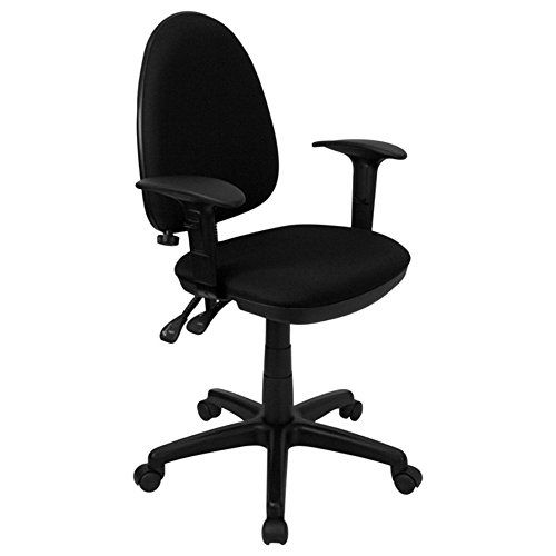 Offex Ofx 91101 Ff Mid Back Black Fabric Multi Functional Task Chair With Arms And Adjustable Lumbar Suppor Task Chair Flash Furniture Lumbar Support