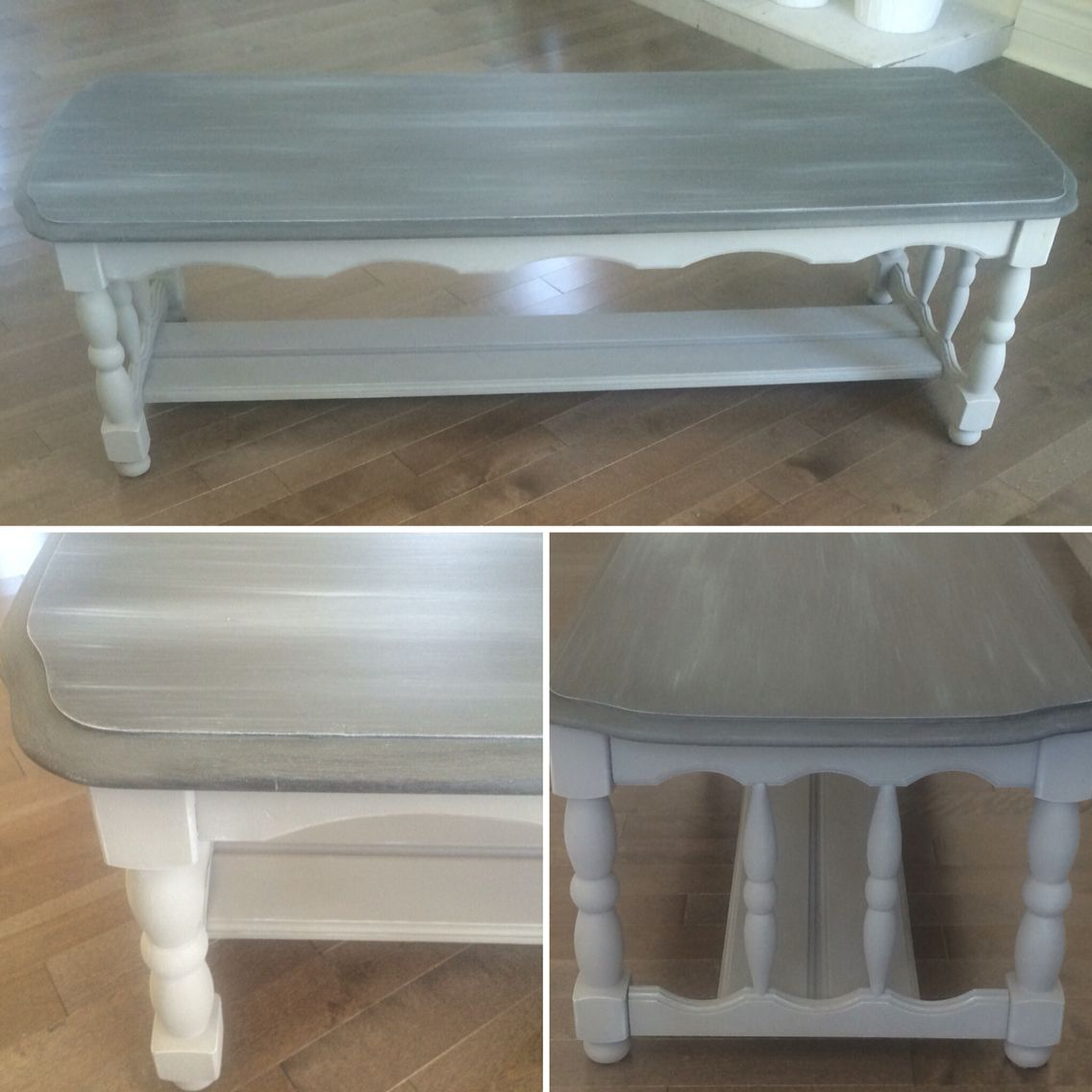 Chalk Painted Two Tone Gray Solid Wood Coffee Table Painted