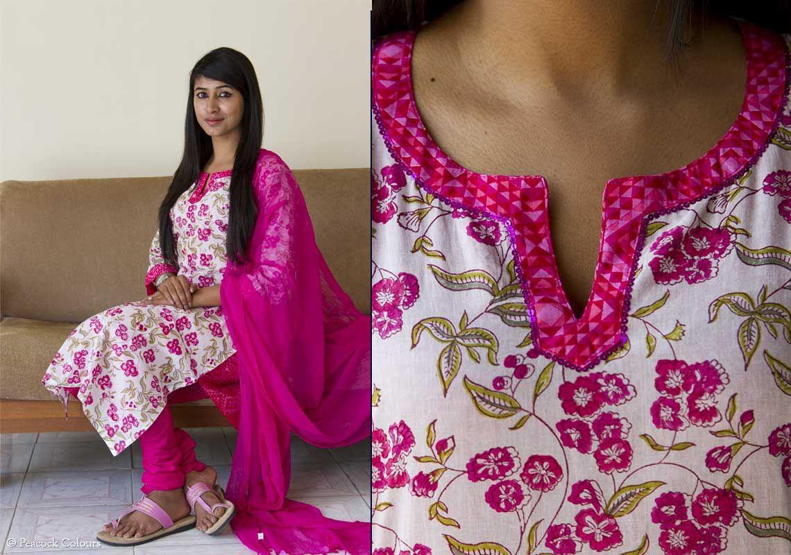Saree blouse design cutting and stitching salwar kameez dupatta set  salwar set  the floral pink  pc