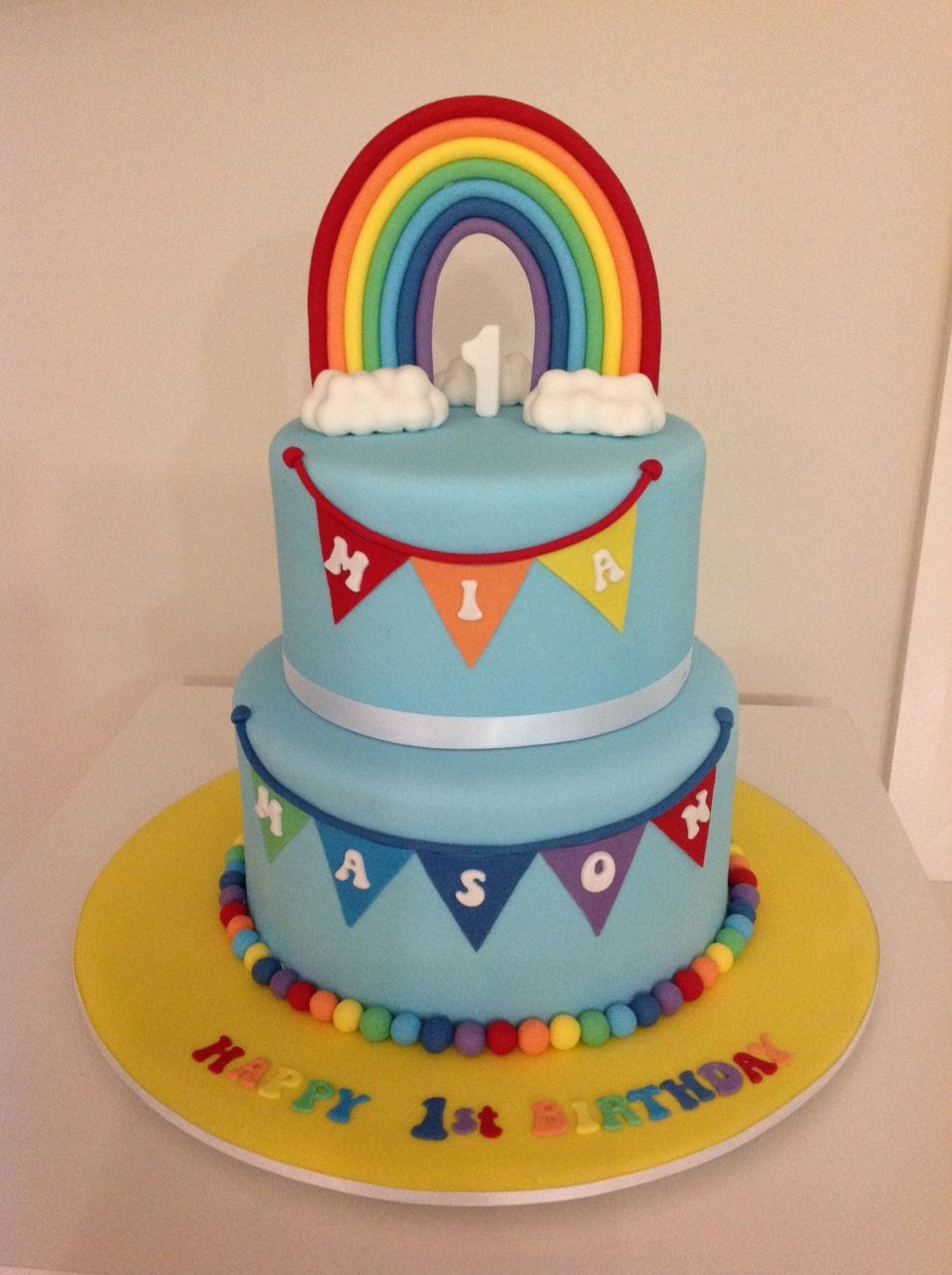 1st Birthday Rainbow Cakes Share With Images Twin Birthday Cakes First Birthday Cakes 1st Birthday Cakes