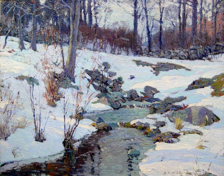 A t hibbard paintings winter brook signed a t hibbard for Innendekoration engadin