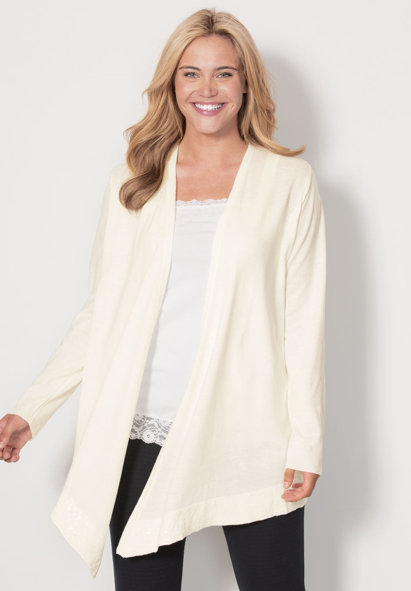 The perfect feminine layer, our plus size cardigan sweater has a ...