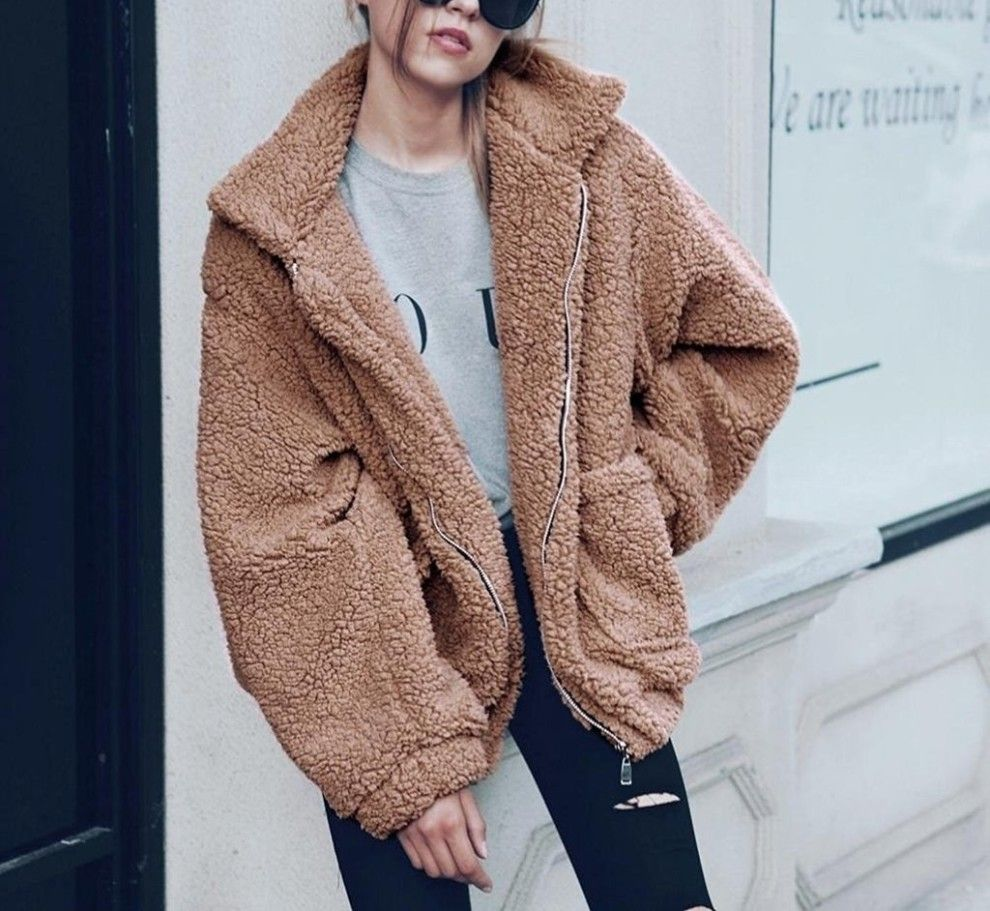 A Soft Teddy Bear Coat With Accurate Measurements For Anyone Who Wants The Coziest Outer Layer This Spring Winter Jackets Women Winter Coats Women Coats For Women [ 911 x 990 Pixel ]