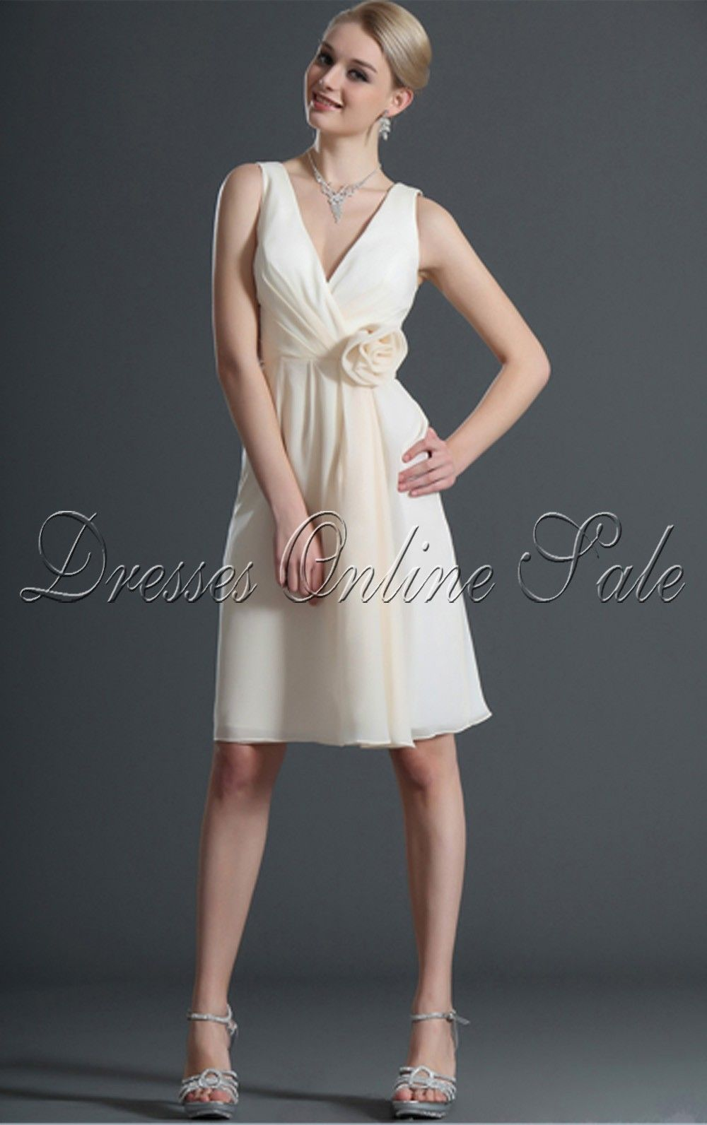 Ivory A-line Knee-length V-neck Dress Shop Online £52