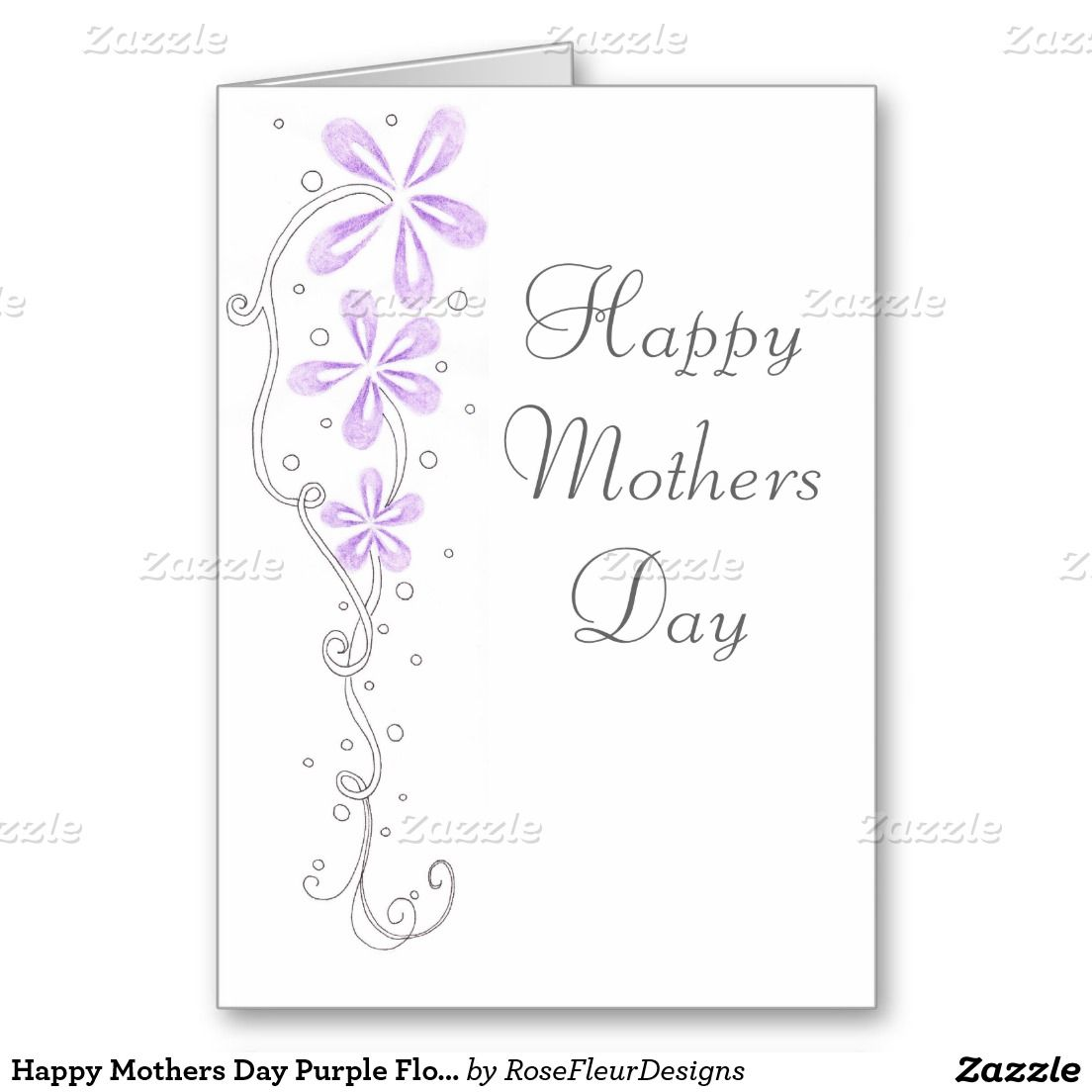 Happy Mothers Day Purple Flowers Card