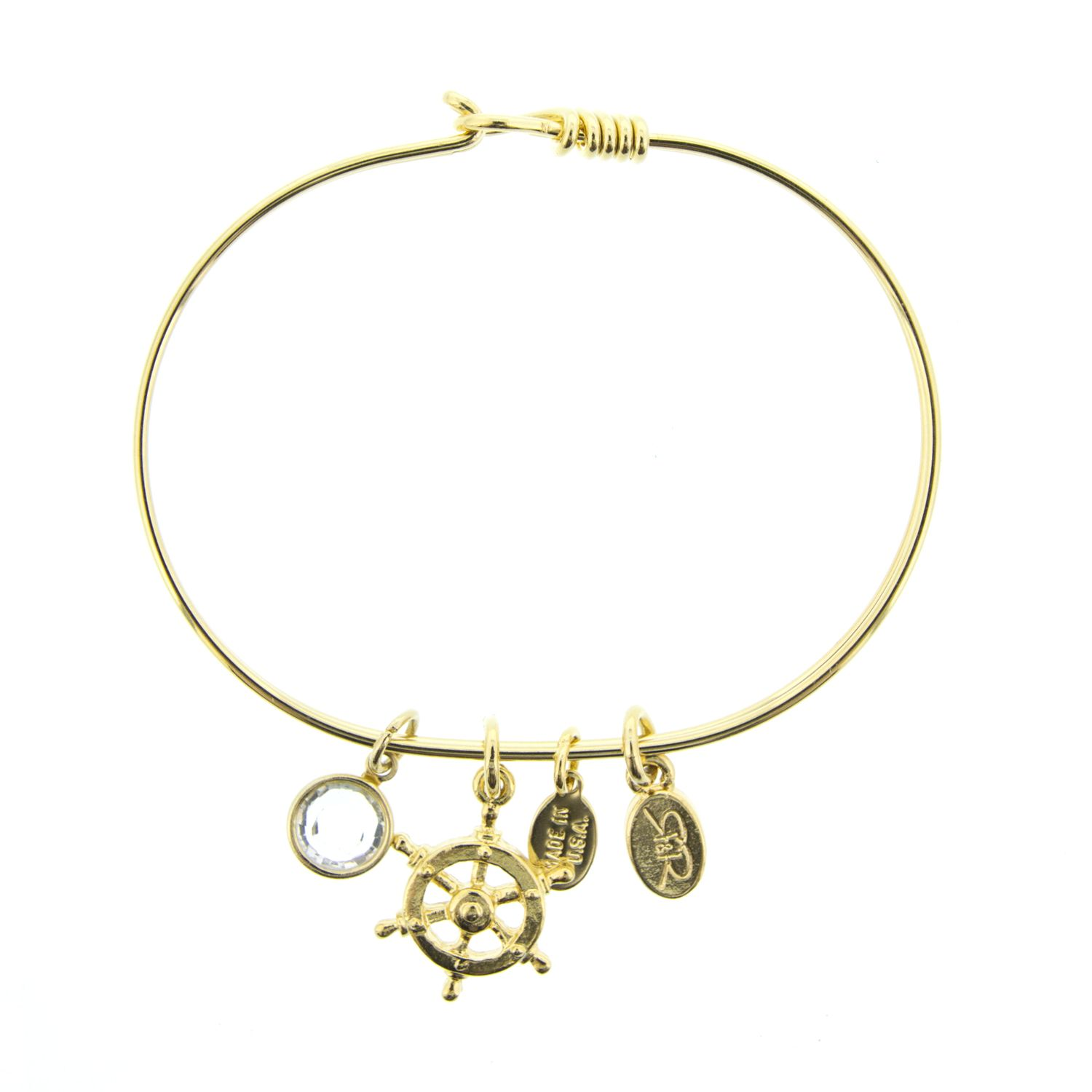 Gold ships wheel bracelet with swarovski crystal by reese and rose