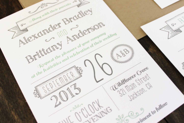 Printable Wedding Invitation. Modern invitation template. DIY ...