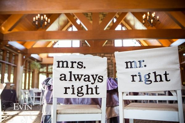 Great wedding detail for a Mrs. Always Right!