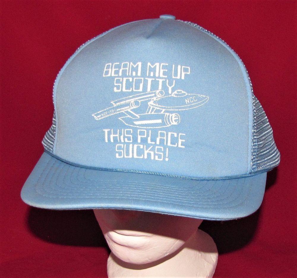 VINTAGE SNAPBACK MESH TRUCKER HAT BEAM ME UP SCOTTY THIS PLACE SUCKS STAR  TREK  Unbranded  BaseballCap 79c69cc277b