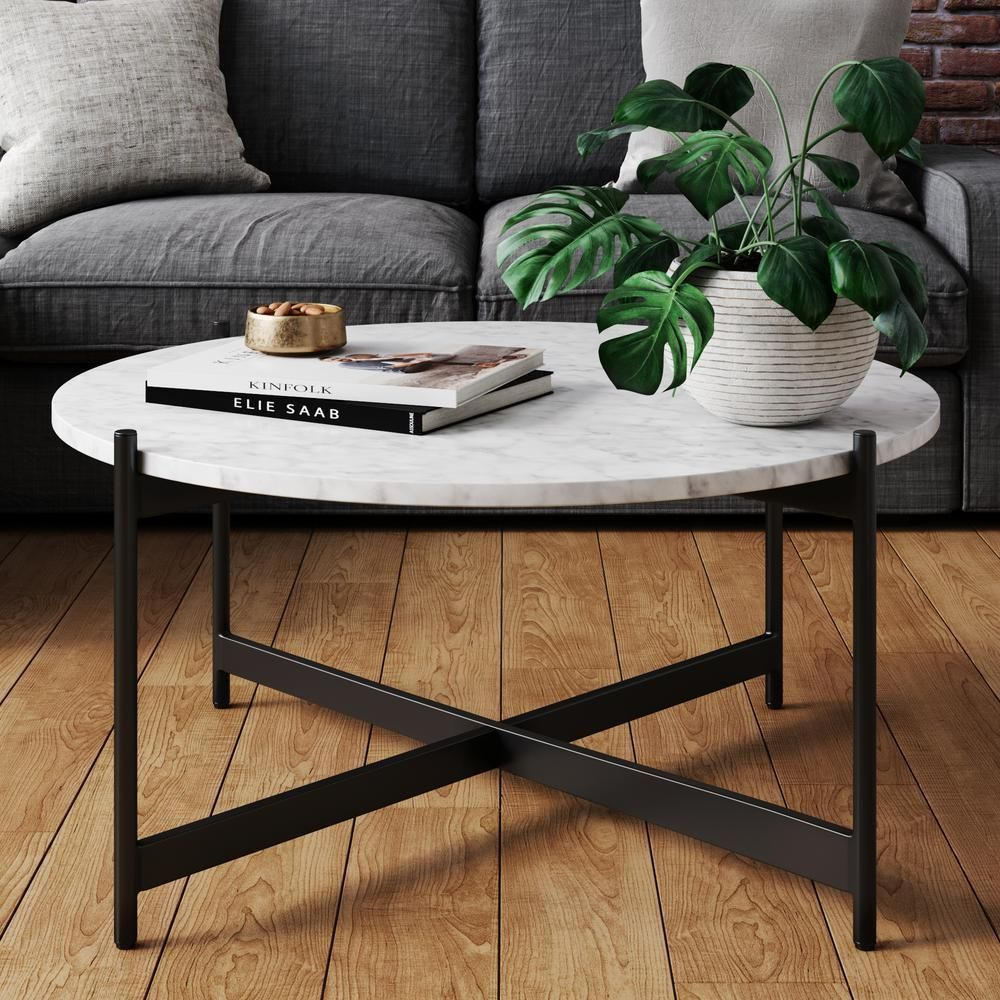 Nathan James Piper White Faux Marble Black Metal Frame Round Modern Living Room Coffee Table Coffee Table Living Room Modern Coffee Table Design Coffee Table [ 1000 x 1000 Pixel ]