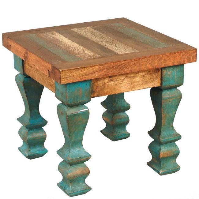 brown and teal corner table