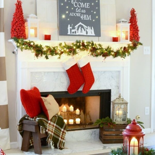 heres this years mantel i am calling it my red and festive christmas mantel - Christmas Mantel Decorations For Sale