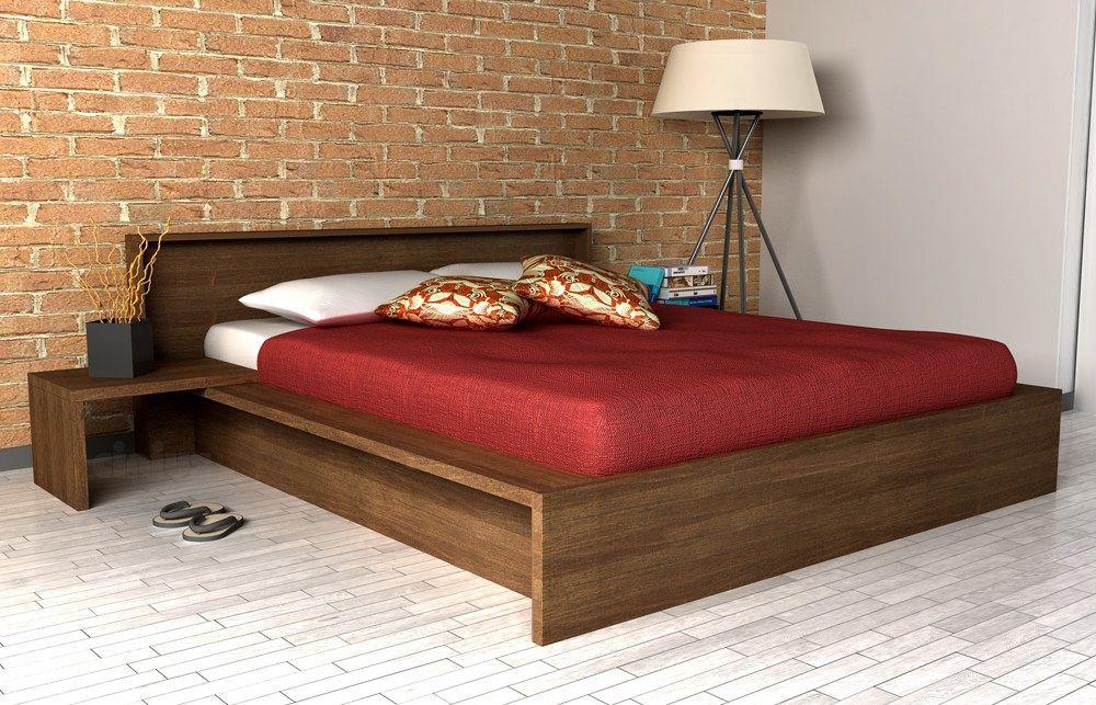 Cama de casal de madeira com armazenamento COMODO by Cinius ...
