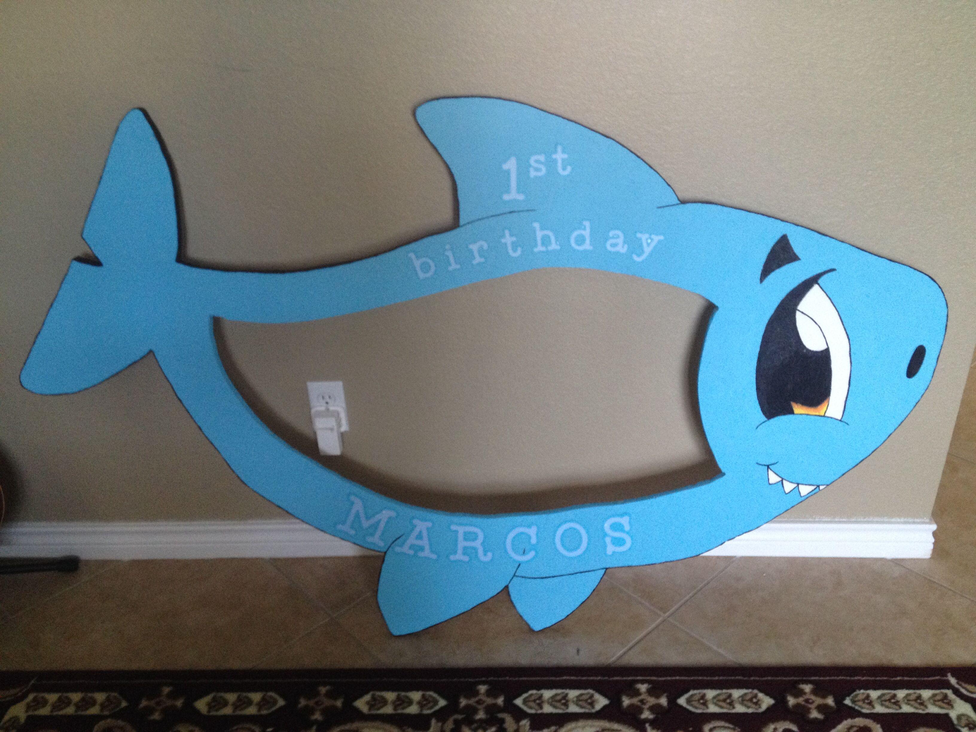 Cute Baby Shark Styrofoam Frame Birthday Frames