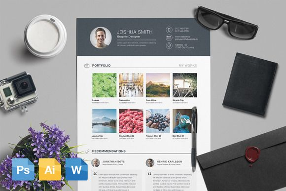 Resume  CV Template AI PSD DOCX by Infographic Template Shop on
