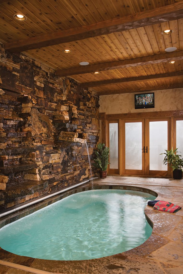 DREAM for a retirement home!    Beautiful indoor pool in a cabin.. wow
