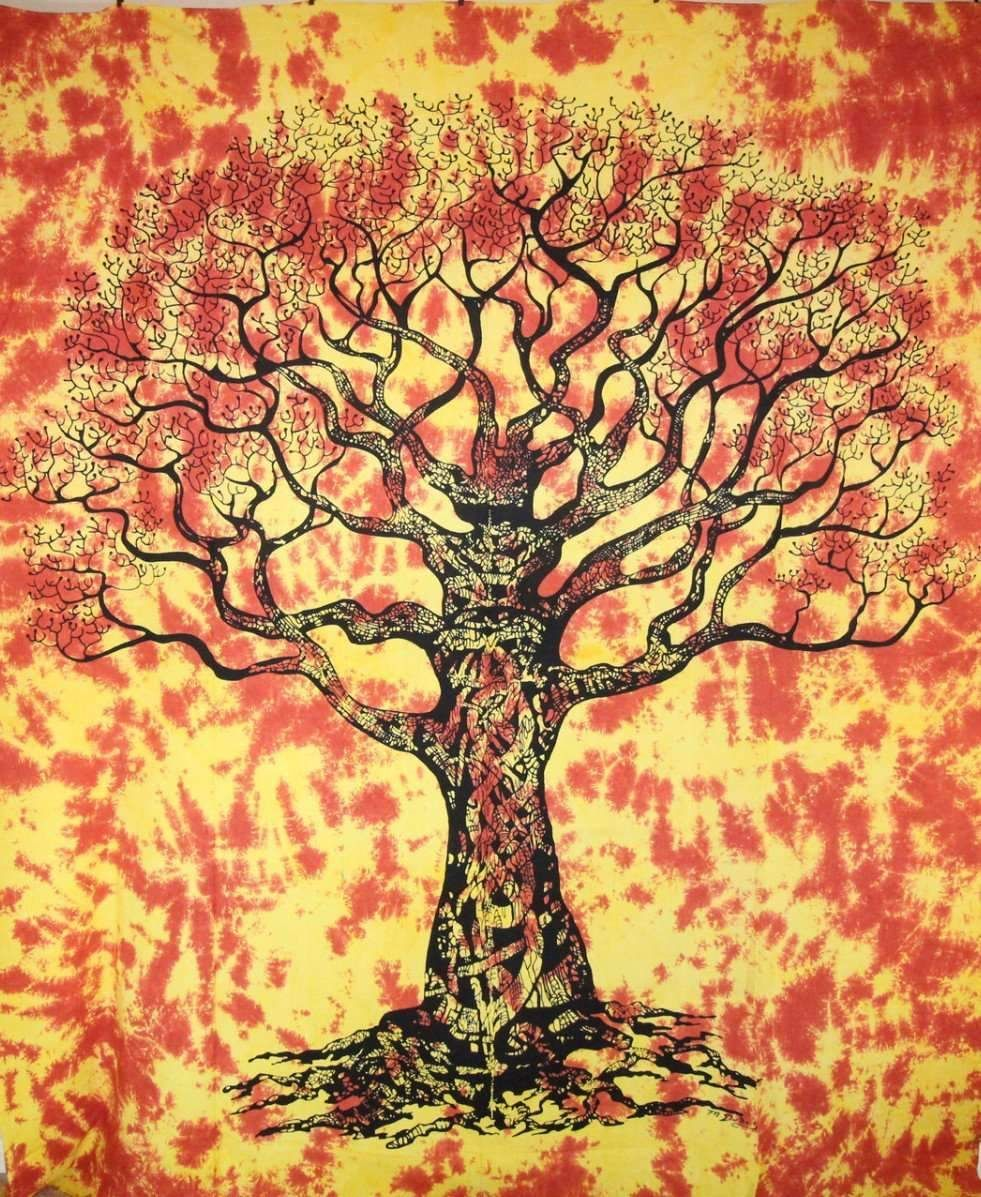 Saffron Celtic Knot Tree Of Life Tie Dye Tapestry   Tie dye tapestry ...