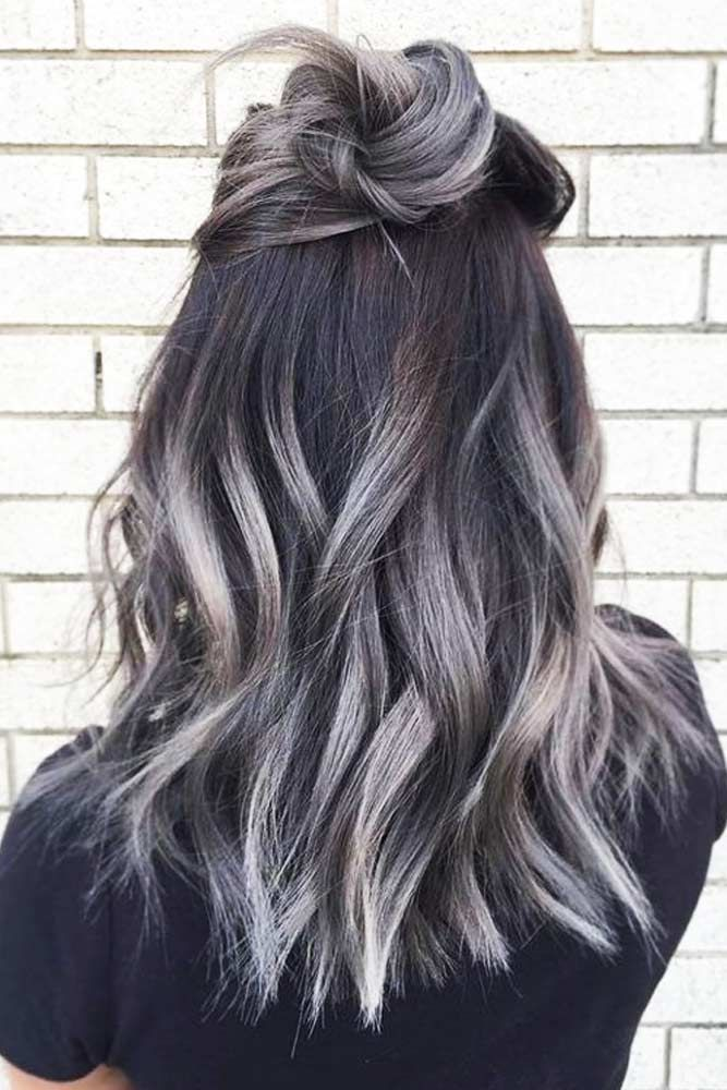 27 Easy Cute Hairstyles For Medium Hair Grey Ombre Hair Hair Color Hair Styles