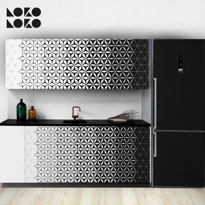 Vinilo de dise o geom trico para decorar muebles de cocina - Vinilos muebles cocina ...
