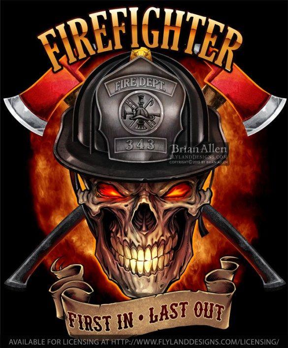 Skull Firefighter Tűzolt 243 Tetkok Katonas 225 G Tűzolt 243 K
