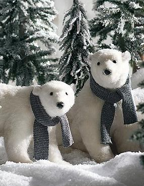 enchant your guests this holiday season with the sitting polar bear with scarf that helps you set a festive winter scene in your home - Pre Lit Polar Bear Christmas Decoration Set Of 3
