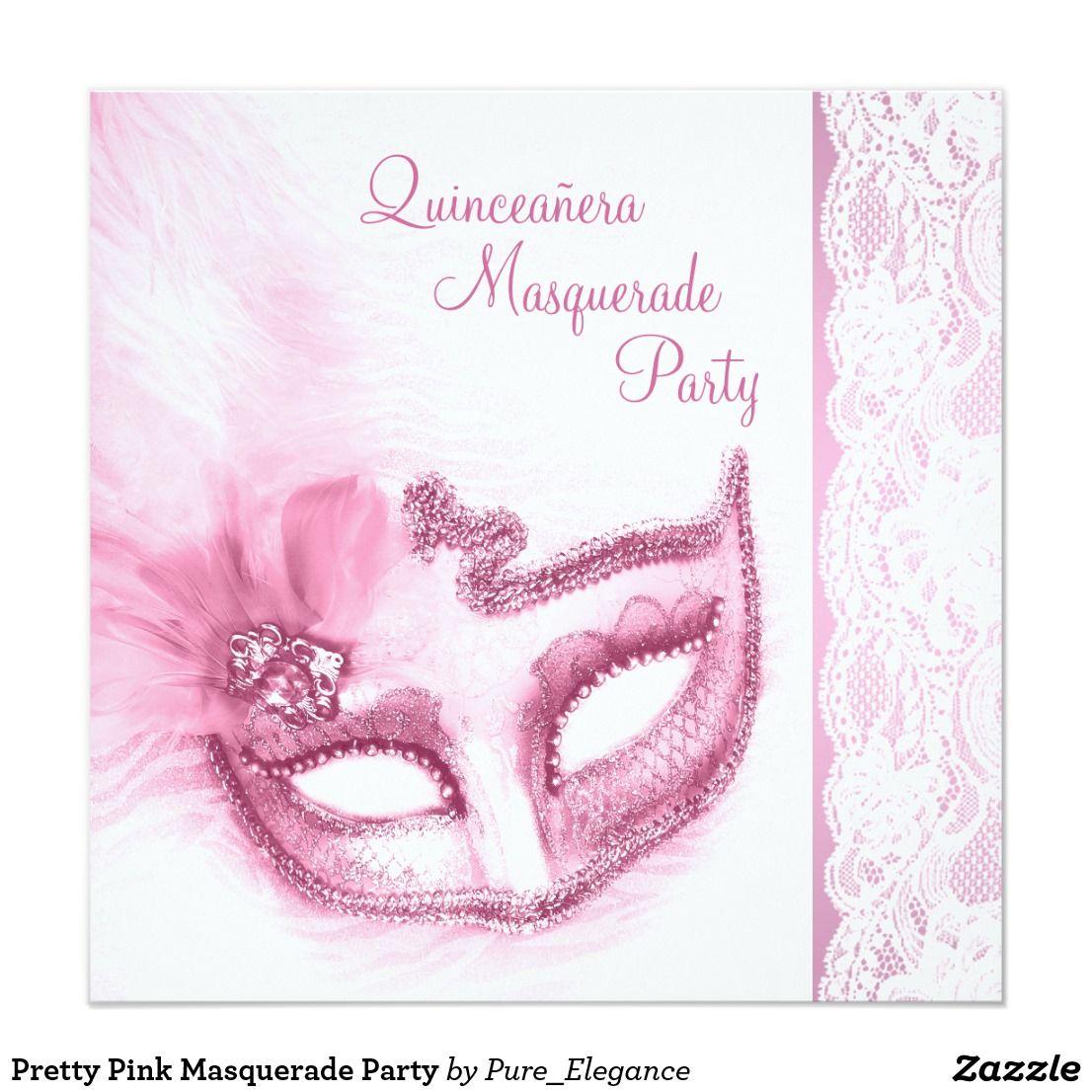 Pretty Pink Masquerade Party Card Pretty pale pink masquerade ...