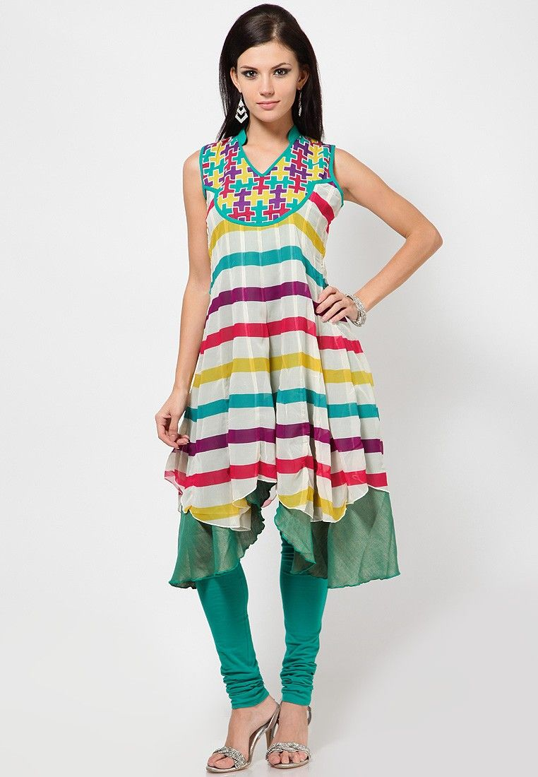 81a5301f62 Sleeve Less Stripes Multi Kurti Indian Tunic Tops, Trends 2015 2016, Latest  Kurti,