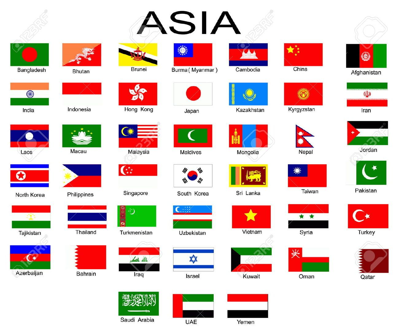 List Of All Flags Of Asian Countries Stock Photo, Picture And Royalty Free  Image. Image 6383362.